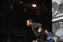 Future Islands performing live at Panorama Festival in New York City