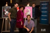 Weaves pose next to their 2017 Polaris Prize poster